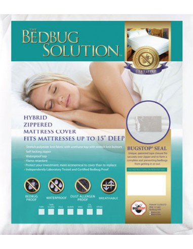 """Queen Hybrid Zippered Mattress Cover with Patented Bugstop Closure 15"""" Depth"""